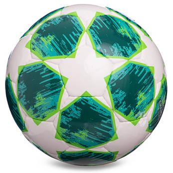 М'яч для футболу розмір 4 PU ламінований CHAMPIONS LEAGUE біло-зелений FB-0152-1, фото 2