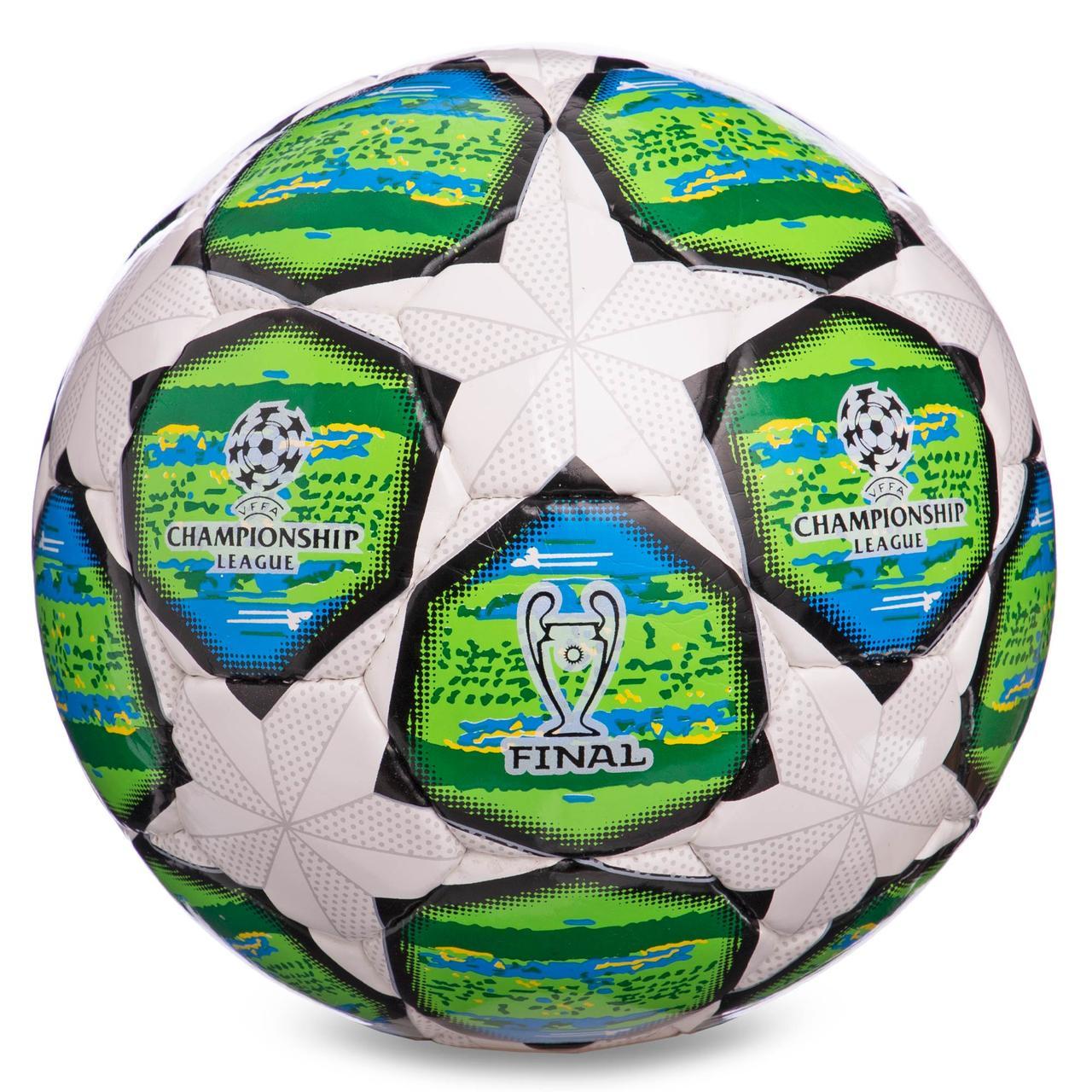 Мяч для футбола №3 PU CHAMPIONS LEAGUE бело-зелёный FB-0150-1