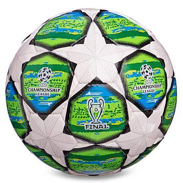 Мяч для футбола №3 PU CHAMPIONS LEAGUE бело-зелёный FB-0150-1, фото 2