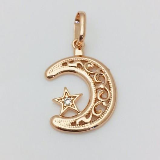 Кулон с камнями Луна и звезда, длина 1.9 см ширина 1.9 см позолота ювелирная бижутерия Fallon