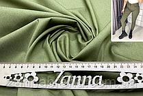 Однотонная джинсовая ткань цвета хаки