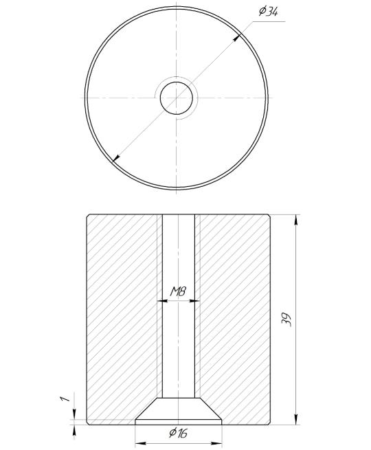 ODF-06-30-21-L40 Дистанция 40 мм для коннектора диаметром 34 мм  с резьбой М8, черный