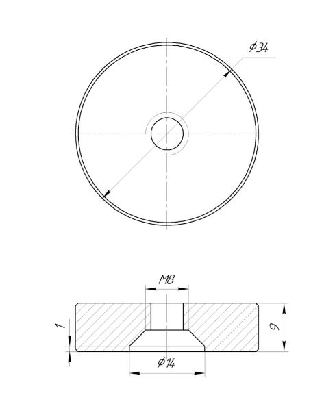 ODF-06-30-02-L10 Дистанция 10 мм для коннектора диаметром 34 мм  с резьбой М8, полированная