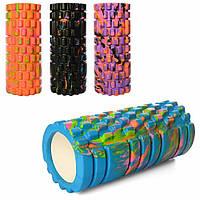 Масажний ролик для фітнесу різнокольоровий 14х33 см, валик для самомасажу спини   массажный ролик для спины