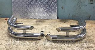 Защита заднего бампера уголкидвойные Задние углы нержавейка Защитные уголки D60-42 на УАЗ PATRIOT 2005-2014