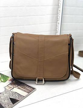Женская сумка светло-коричневая натуральная кожа код 22-57