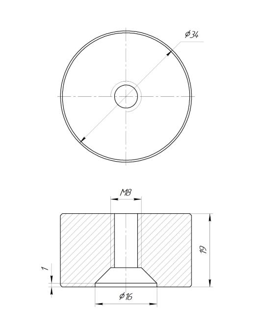 ODF-06-30-21-L20 Дистанция 20 мм для коннектора диаметром 34 мм  с резьбой М8, черная