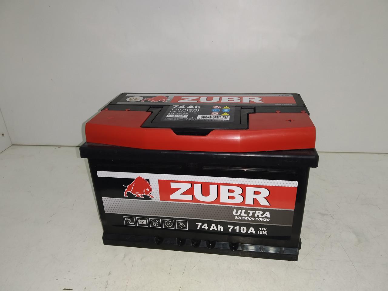 Аккумулятор Zubr Ultra 74 Ah 710А Euro+ Правый +