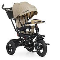Дитячий триколісний велосипед Turbo trike М 5448HA-7L,кол. гума (12/10), музика, світло, бежевий льон