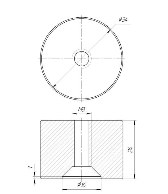 ODF-06-30-02-L25 Дистанция 25 мм для коннектора диаметром 34 мм  с резьбой М8, полированный