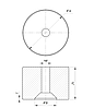 ODF-06-30-02-L25 Дистанция 25 мм для коннектора диаметром 34 мм  с резьбой М8, полированный, фото 2