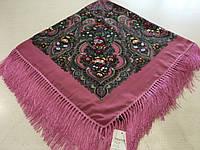 Хустина* етнічна з квітами та українським орнаментом  колір малиновий розмір 110*110 см