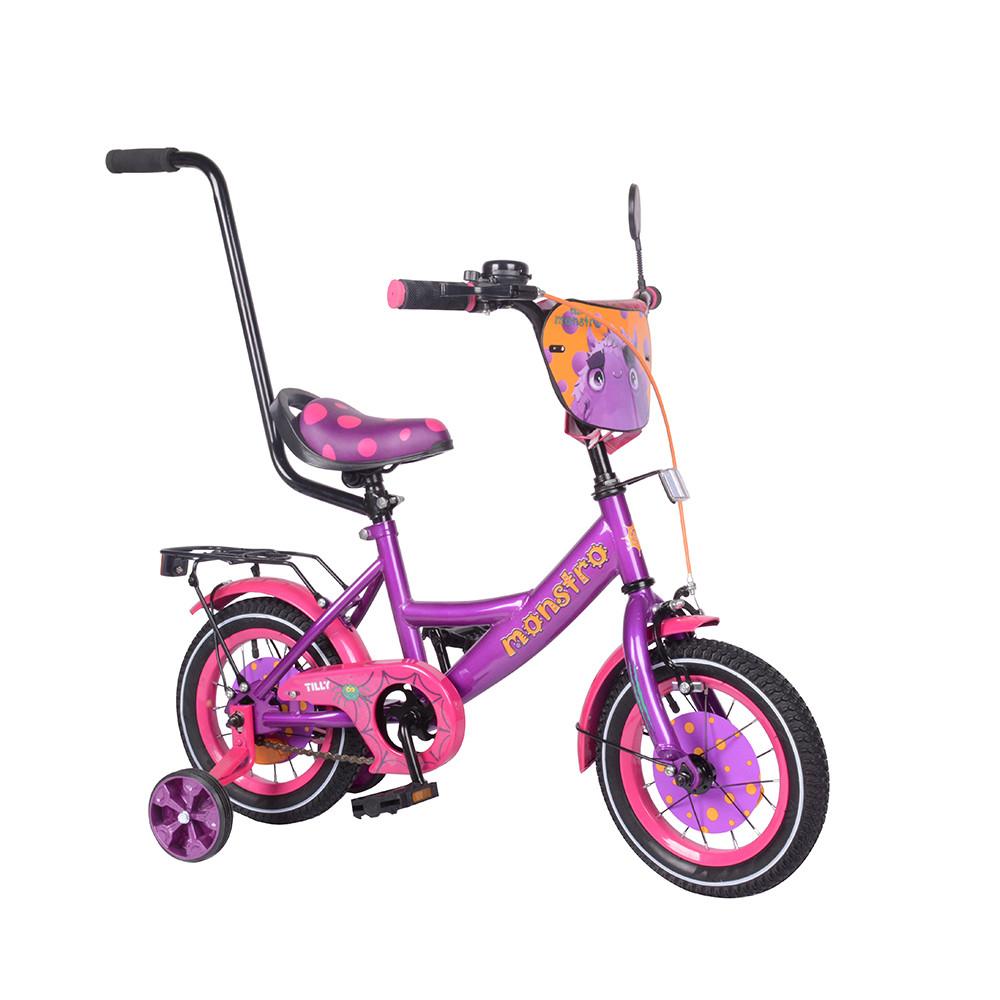 """Велосипед детский TILLY Monstro 12"""" T-212211 Purple + Pink с родительской ручкой"""