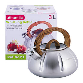 Чайник Kamille Дерево 3л из нержавеющей стали со свистком и стеклянной крышкой для индукции KM-0671