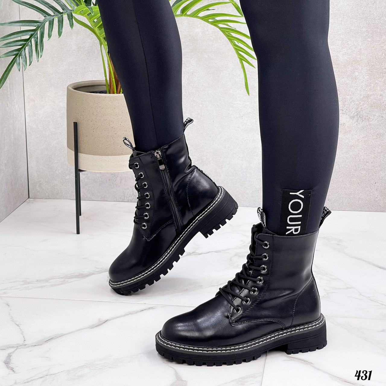 Женские ботинки ДЕМИ черные на шнурках натуральная кожа