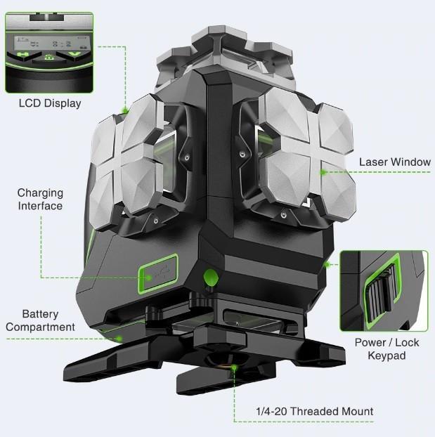 Лазерний рівень 4D Huepar S04CG /  пульт /  Bluetooth Продаж тільки м Рівне