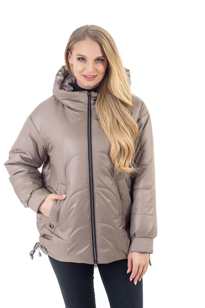 Куртки батал женские весна-осень больших размеров  46-56 бежевый