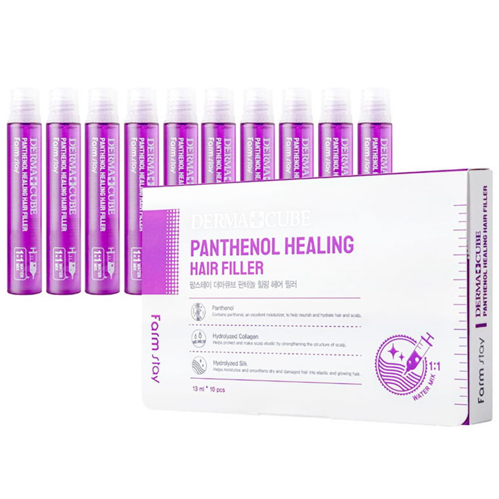 Восстанавливающий филлер для волос с пантенолом Farmstay Dermacube Panthenol Healing Hair Filler 10шт*13 мл