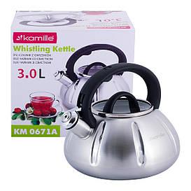 Чайник Kamille 3л из нержавеющей стали со свистком и стеклянной крышкой для индукции и газа KM-0671A