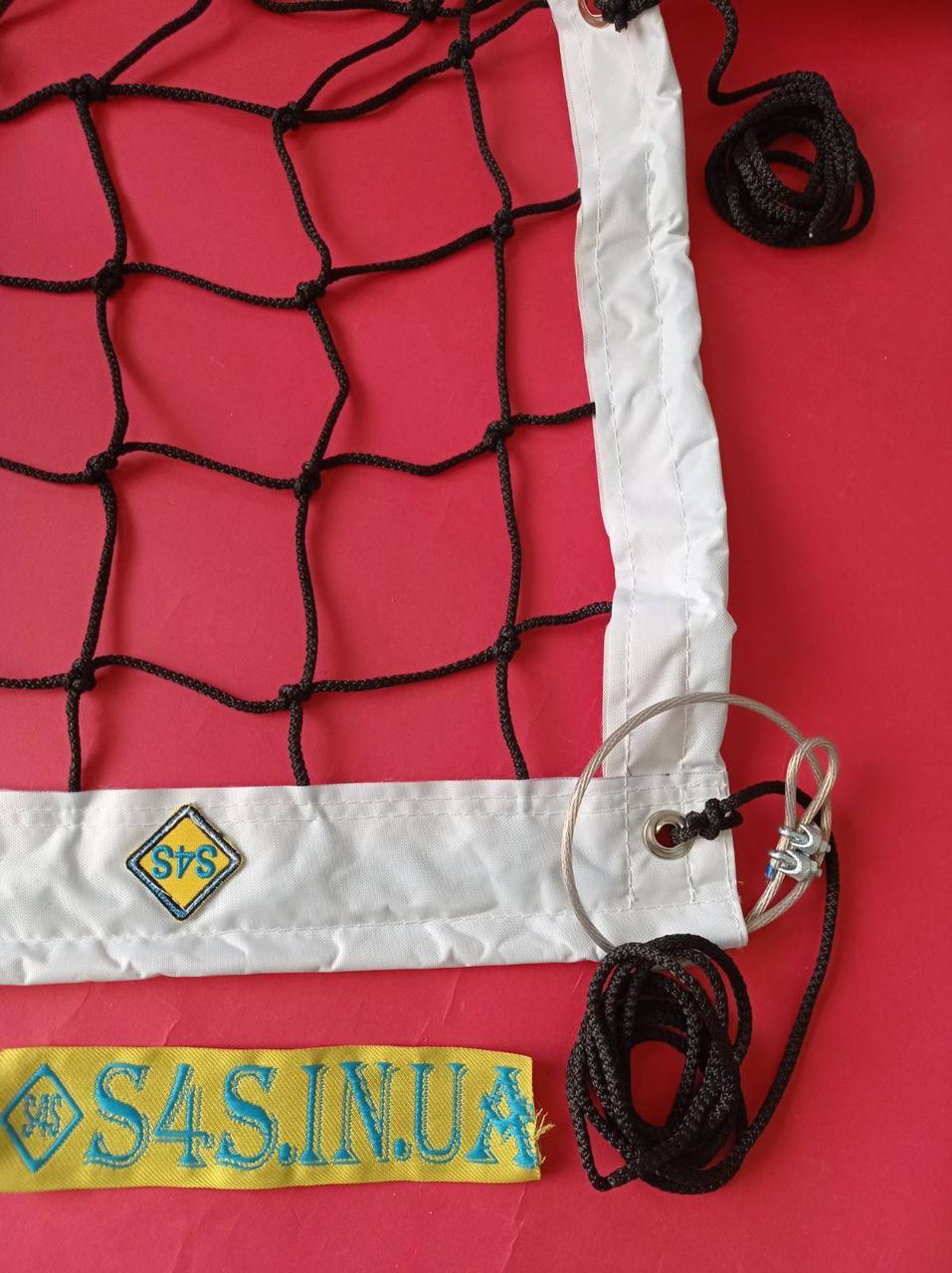 Сітка для класичного волейболу «ЕЛІТ 10 НОРМА» з тросом чорно-біла, прогумована обшивка, Залишки №111