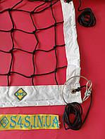 Сітка для класичного волейболу «ЕЛІТ 10 НОРМА» з тросом чорно-біла, прогумована обшивка, Залишки №111, фото 1