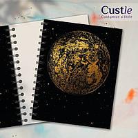 """Блокнот для рисования, скетчбук черный, декорированный золотом с белой бумагой """"FULL MOON"""""""