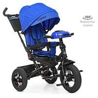 Дитячий триколісний велосипед Turbo trike М 5448HA-10,кільк. гума (12/10), музика, світло, синій