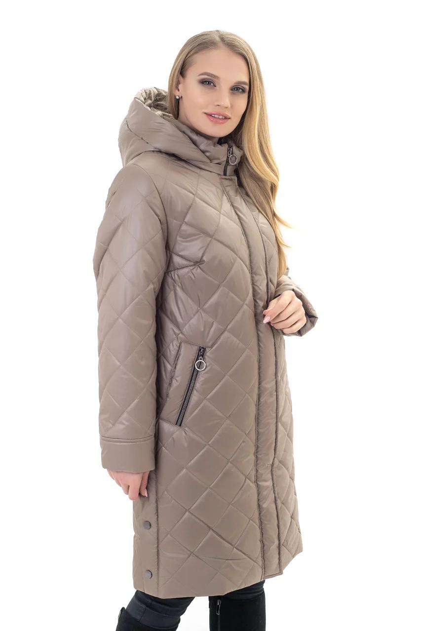 Модные женские куртки длинные большого размера  52-70 бежевый
