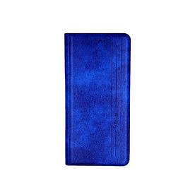 Чохол книжка для Samsung A02S A025 бічній з натуральної шкіри, Gelius, Vertical Lines, Синій