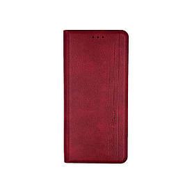 Чохол книжка для Samsung A02S A025 бічній з натуральної шкіри, Gelius, Vertical Lines, Червоний