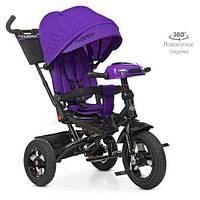 Дитячий триколісний велосипед Turbo trike М 5448HA-8,кільк. гума (12/10), музика, світло, фіолетовий