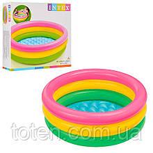 Бассейн 58924 детский Intex 86-25 см, с удобным надувным дном, три кольца