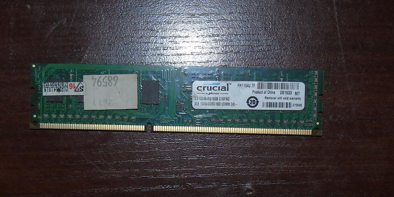 8Gb DDR3 Оперативная память Crucial 1600Mhz