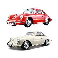 Автомодель - PORSCHE 356B (1961) (ассорти слоновая кость, красный, 1:24), фото 1