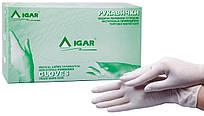 Перчатки медицинские латексные смотровые нестерильные опудренные IGAR (белые) 100шт