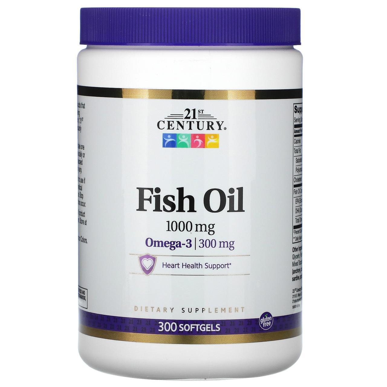 Риб'ячий жир в капсулах, 21st Century Health, 300 капсул