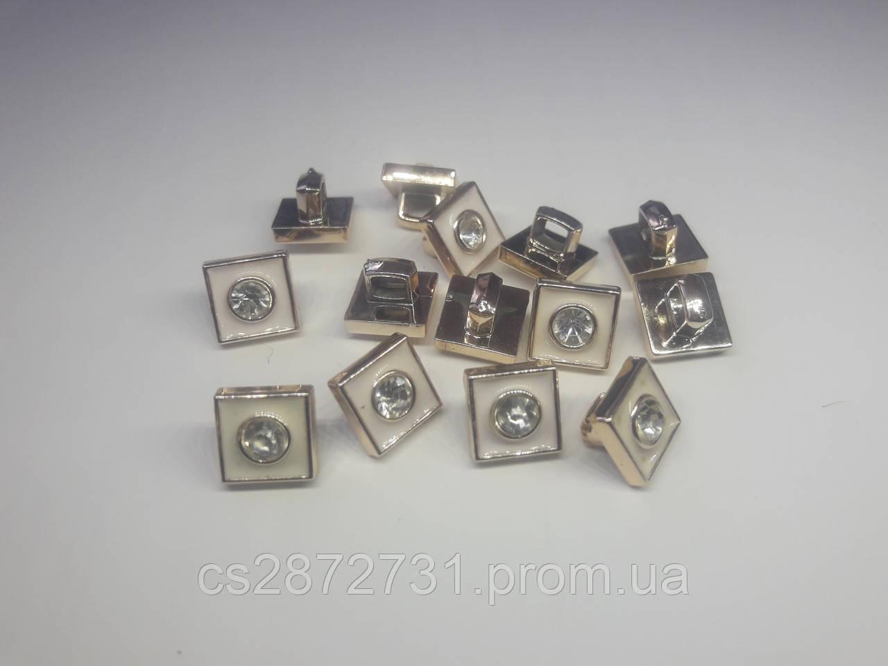 Пуговици квадратные с горным хрусталем , 10 мм, для одежды