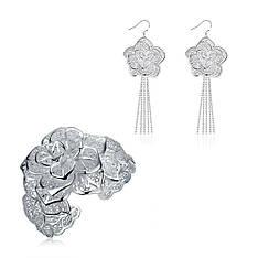 Жіночий комплект біжутерії (сережки, браслет) ажурні квіти Троянди покриття срібло 925