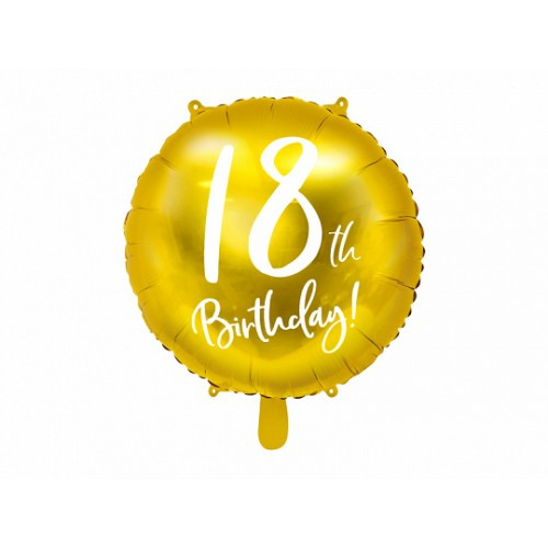 Фольгированный шар большая фигуры упаковка круг 18 Birthday 45см