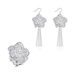 Жіночий комплект біжутерії (кільце, сережки) квіти Троянди покриття срібло 925