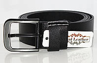 Мужской кожаный ремень, классический (под джинсы), большой размер! 175см.Черный. Турция.