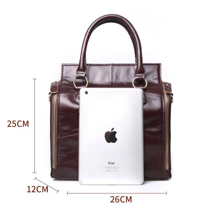 Кожаная женская сумка из натуральной кожи. Сумка женская органайзер кожаная деловая стильная (коричневая) - фото 8