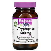 L-триптофан, L-Tryptophan, Bluebonnet Nutrition, 500 мг, 60 капсул
