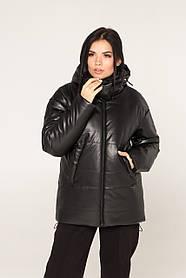 Короткая женская куртка-пуховик из эко-кожи с капюшоном, размер  XS, S, M, L, XL, XXL