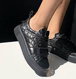 Жіночі кеди HBM Malina 40 розмір, чорний, натуральна шкіра, зручна устілка латекс/шкіра, фото 5