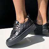 Жіночі кеди HBM Malina 40 розмір, чорний, натуральна шкіра, зручна устілка латекс/шкіра, фото 6