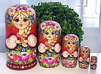 Оригинальный букет цветов Матрешки расписные 5в1