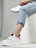Жіночі кеди HBM Malina 37 розмір, білий з малиновим акцентом, натуральна шкіра, зручна устілка латекс/шкіра, фото 4