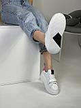 Жіночі кеди HBM Malina 37 розмір, білий з малиновим акцентом, натуральна шкіра, зручна устілка латекс/шкіра, фото 5