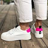 Жіночі кеди HBM Malina 37 розмір, білий з малиновим акцентом, натуральна шкіра, зручна устілка латекс/шкіра, фото 6